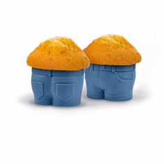 Muffinform im Minions Jeans-Look
