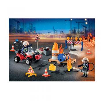 Playmobil Adventskalender Feuerwehreinsatz auf der Baustelle (9486)