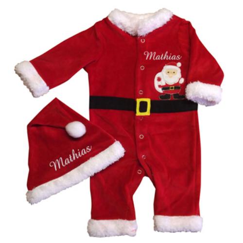 Baby Weihnachtsanzug mit Bestickung
